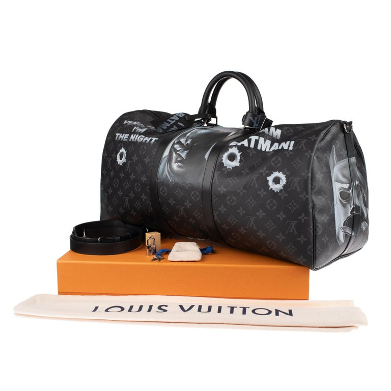 Brand New BATBAG by the artist Patbo:  Louis Vuitton Keepall 55 Eclipse strap! For Sale 11