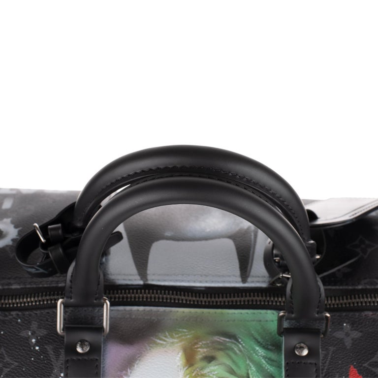 Brand New BATBAG by the artist Patbo:  Louis Vuitton Keepall 55 Eclipse strap! For Sale 4