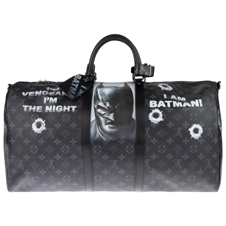 Brand New BATBAG by the artist Patbo:  Louis Vuitton Keepall 55 Eclipse strap! For Sale