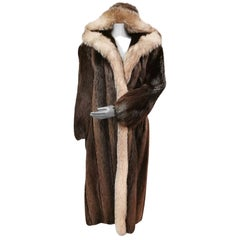 Vincenzo Beaver Fur Hooded Coat With Fox Fur Trim (Size 12-L)