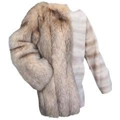 Brand New Birger Christensen Sheared Mink and Fox Fur Sweater coat (Size 10 -M)