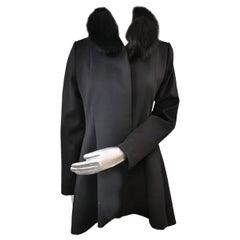 Brand new black Loro piana coat with fox fur trim size 4-6