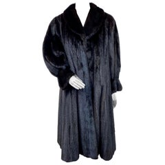 Brand New Black Mink Fur Swing Coat (Size 12-M)