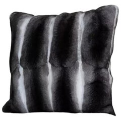 "Brand New Black Velvet Chinchilla Fur Pillows (12""x12"")"