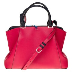 Brand New C de Cartier handbag with strap in red and black leather with SHW