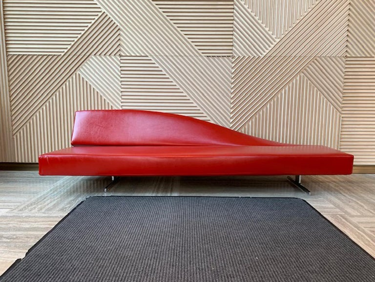 Designed by Jean Marie Massaud, the dramatically sloping back of the Aspen sofa/bench has a horizontal twist, and seat depth is tapered to complement the back. It makes an elegant statement in community spaces, waiting areas, galleries, and lobbies.