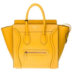 Brand New / Céline Luggage Mini handbag in yellow calfskin with silver hardware