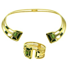 Chanel My Green Jewelry Gallery Collection Gold Choker Bangle Set