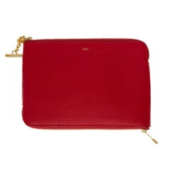 Brand New/ Charming Chloé Clutch double side in red leather and gold hardware