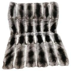 "Brand New Natural European Chinchilla Fur and Cashmere Blanket (42""x 28"")"