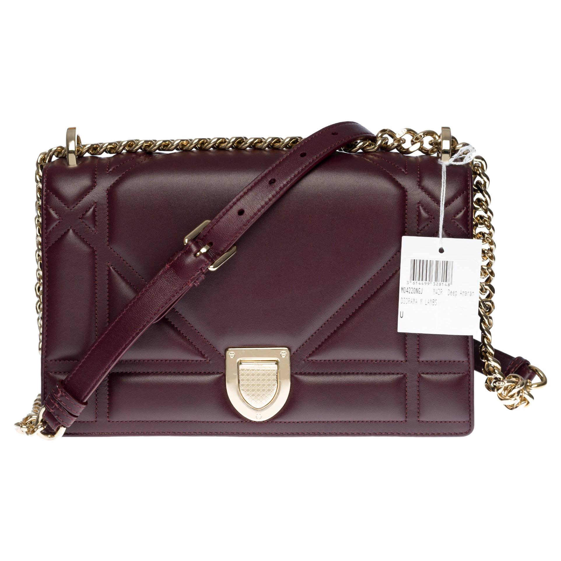 Brand New /Christian Dior Diorama Shoulder bag in Purple cannage leather, SHW