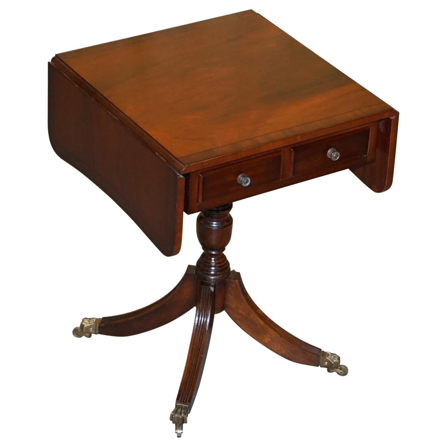 Brand New Flamed Hardwood Extending Side End Lamp Table Brass Lion Paw Castors
