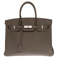 Brand New -Full set-Hermès Birkin 35 handbag in Etain Epsom leather, SHW