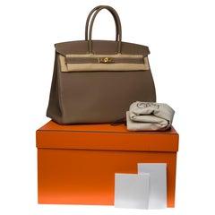 Brand New -Full set-Hermès Birkin 35 handbag in étoupe Togo leather, GHW