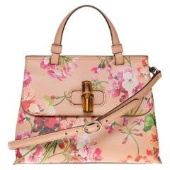 Brand New/ GUCCI Calfskin Blooms Print Bamboo Daily Top Handle Bag