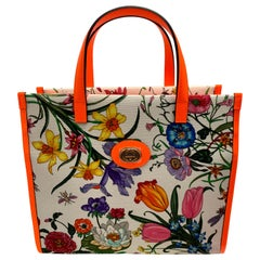 Brand New Gucci flora canvas neon orange handbag with Extra Shoulder Strap