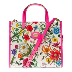 BRAND NEW / Gucci Flora Tote in pink print vinyl