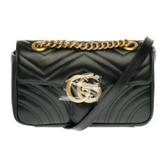 Brand New/ Gucci GG Marmont mini black quilted leather shoulder bag