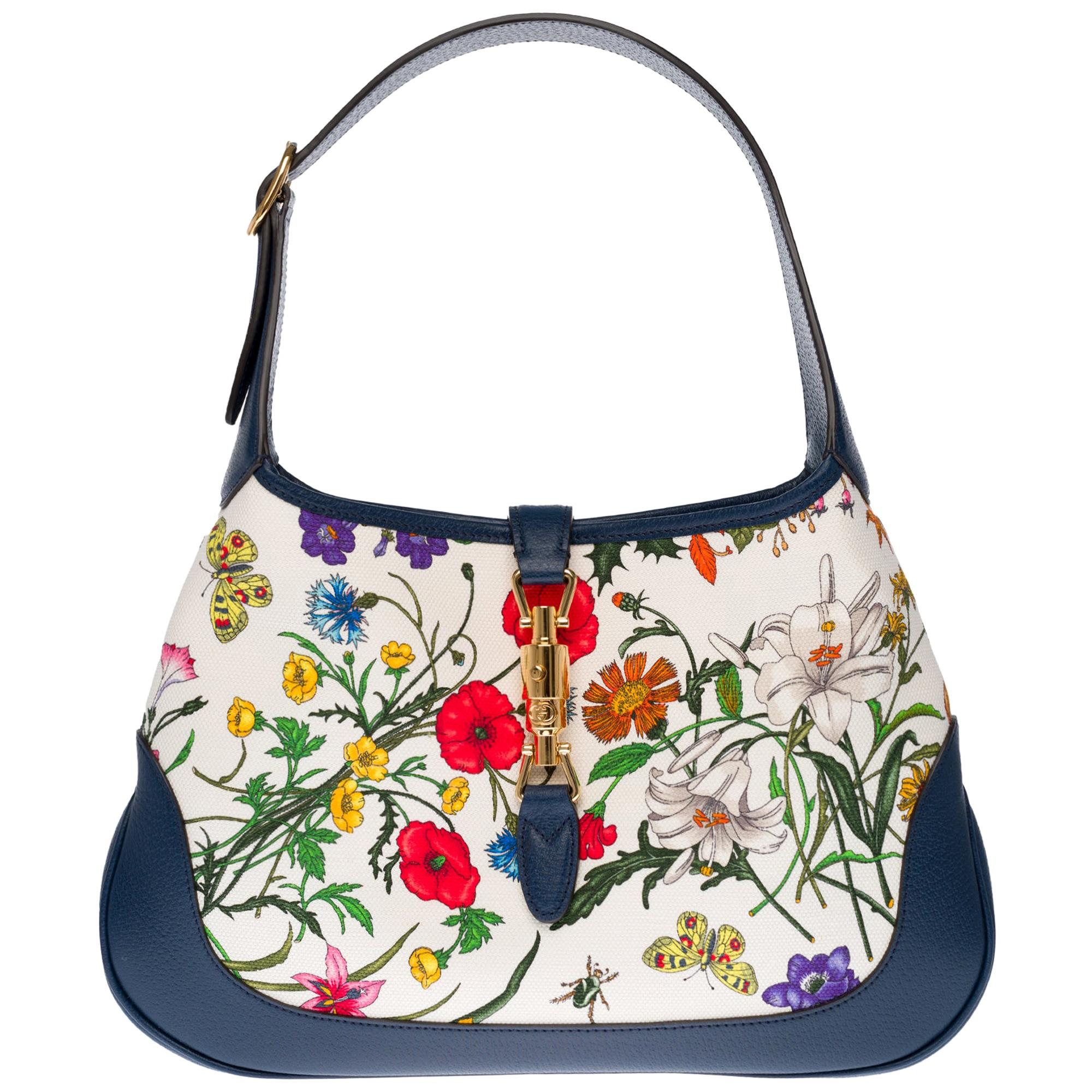 Brand New/ Gucci Jackie Flora shoulder bag in canvas and blue leather