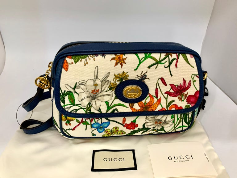 Brand New GUCCI Womens Small  Flora Canvas and Blue Leather  Shoulder Handbag For Sale 7
