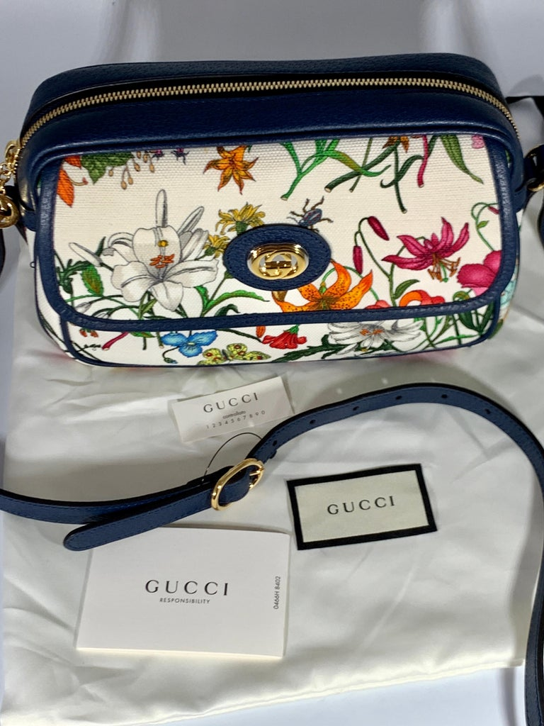 Beige Brand New GUCCI Womens Small  Flora Canvas and Blue Leather  Shoulder Handbag For Sale