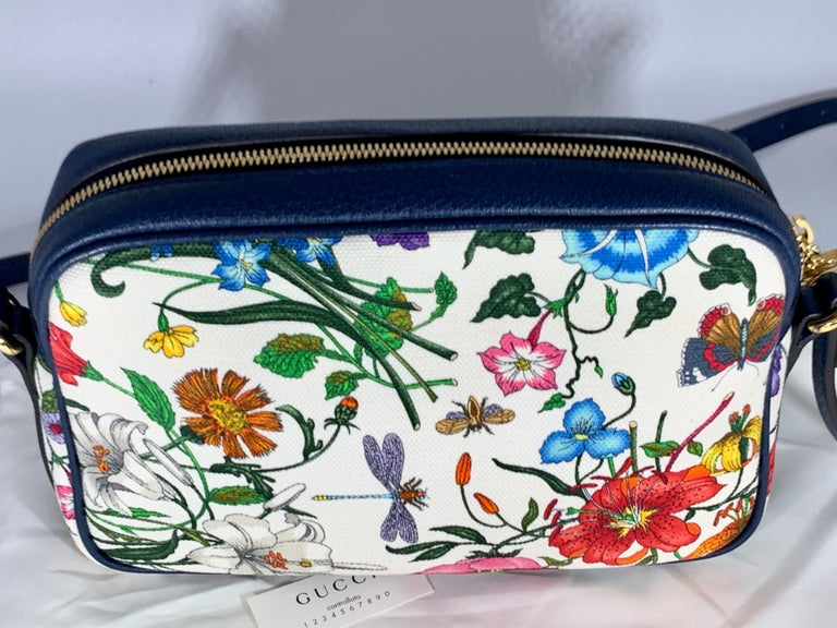 Women's Brand New GUCCI Womens Small  Flora Canvas and Blue Leather  Shoulder Handbag For Sale