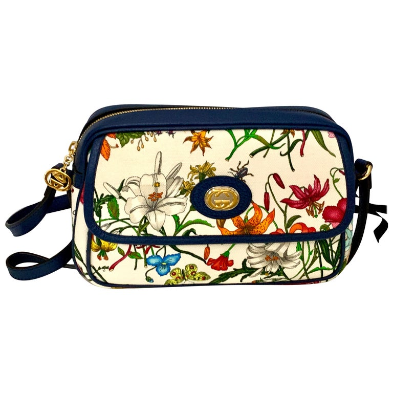 Brand New GUCCI Womens Small  Flora Canvas and Blue Leather  Shoulder Handbag For Sale