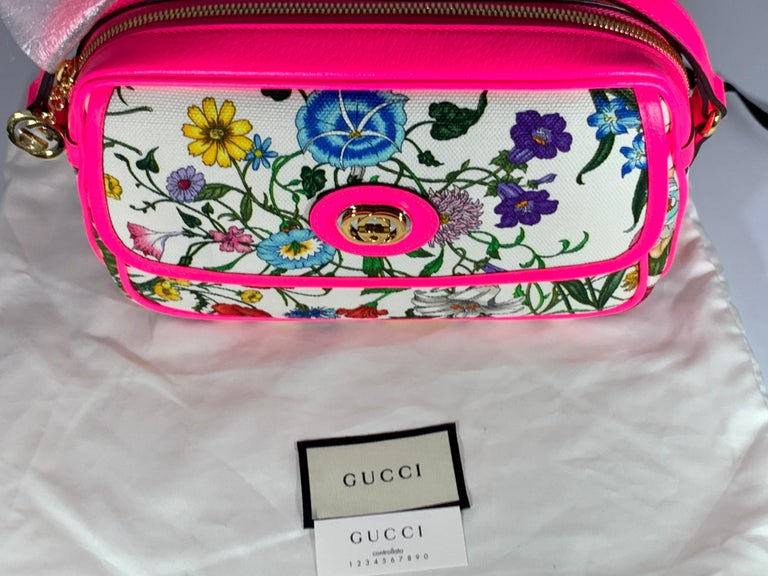 Brand New GUCCI Women's Small  Flora Canvas and Pink Leather  Shoulder Handbag For Sale 6