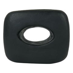 Brand New Hand Built Ceramic Sculpture, Oblong Cube with Oval Opening in Black