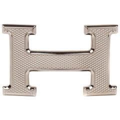 Brand New Hermes Belt Buckle Model Guillochée Silver Tone (37mm)