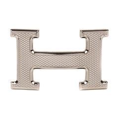 Brand New Hermes Belt Buckle Model Guillochée Silver Tone