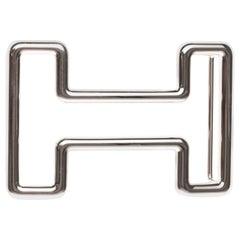 "Brand new Hermès belt buckle model ""Tonight"" in shiny silver, Large size 3,8 cm!"