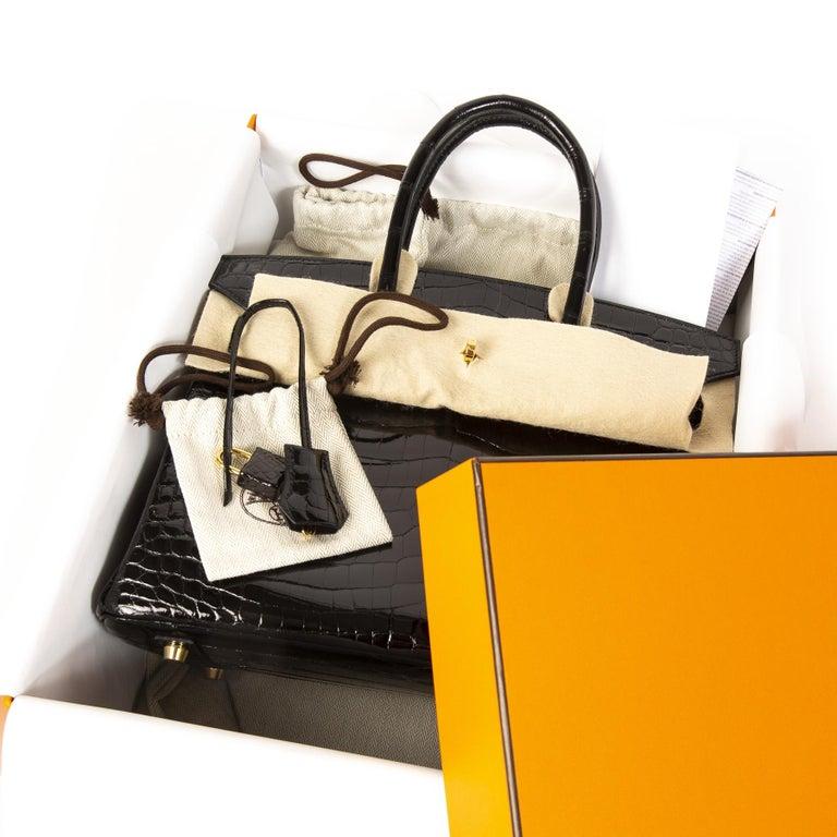 Brand New Hermès Birkin 30 Crocodile Niloticus Lisse Noir GHW In New Condition For Sale In Antwerp, BE