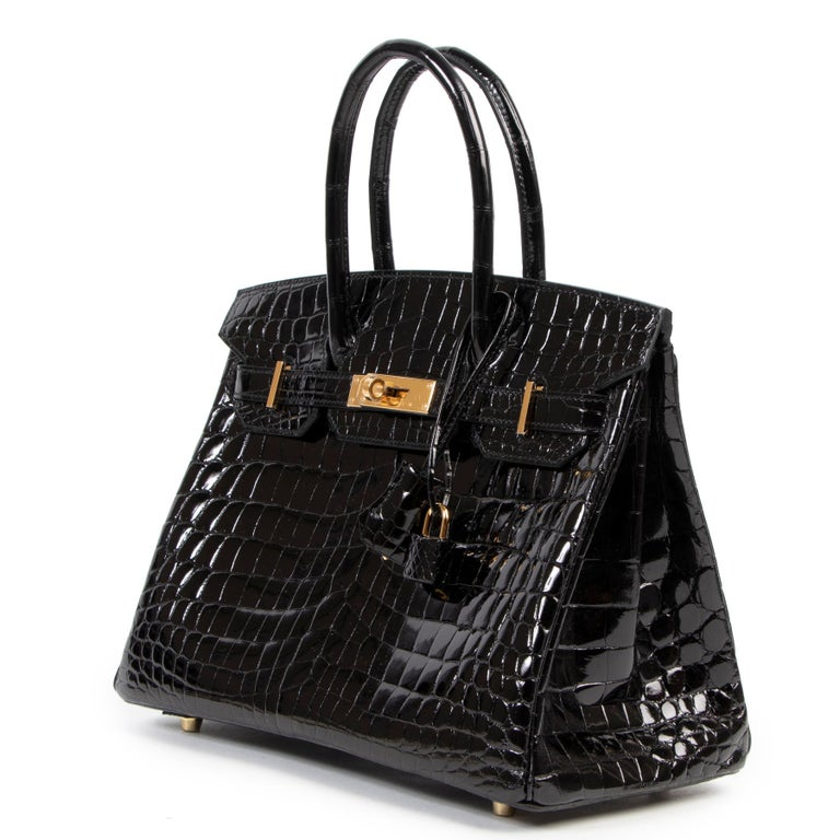 Brand New Hermès Birkin 30 Crocodile Niloticus Lisse Noir GHW For Sale 1