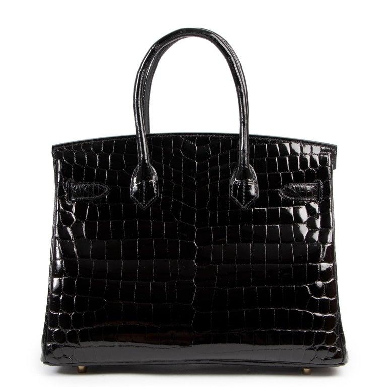 Brand New Hermès Birkin 30 Crocodile Niloticus Lisse Noir GHW For Sale 2