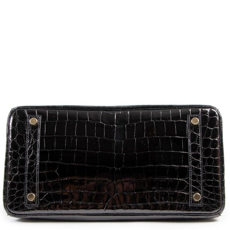 Brand New Hermès Birkin 30 Crocodile Niloticus Lisse Noir GHW For Sale 3