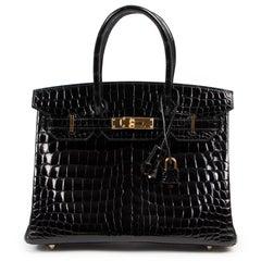 Brand New Hermès Birkin 30 Crocodile Niloticus Lisse Noir GHW