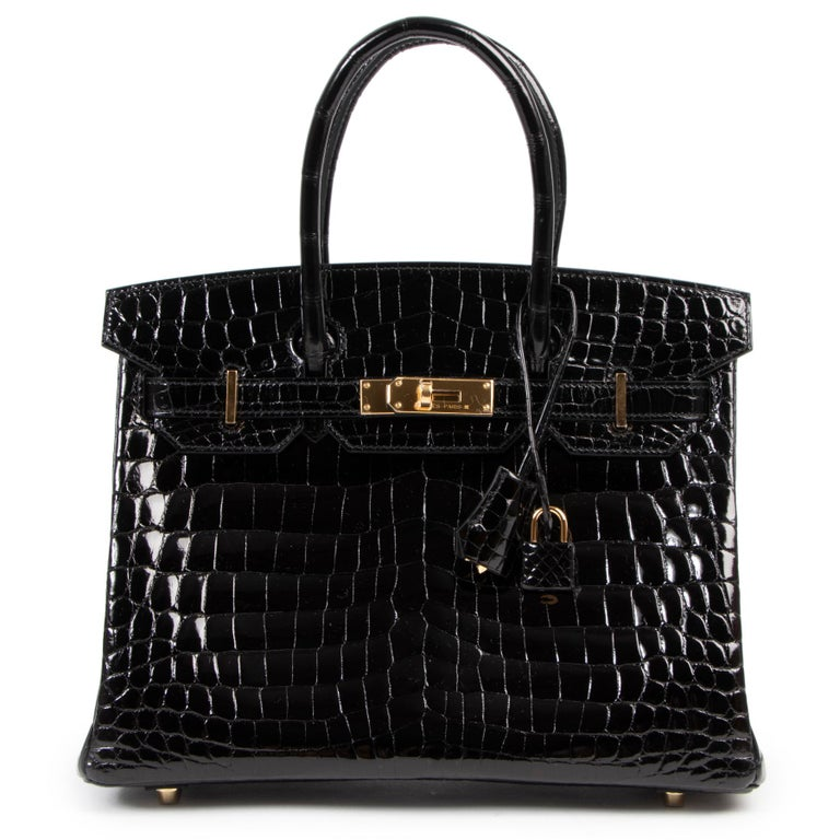 Brand New Hermès Birkin 30 Crocodile Niloticus Lisse Noir GHW For Sale