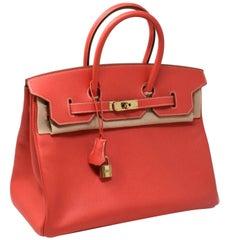 Brand New Hermès Birkin Bag Sanguine Clemence Leather Gold Hardware