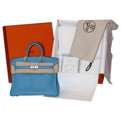 BRAND NEW Hermes  Bleu du Nord Swift leather 25 Birkin Bag