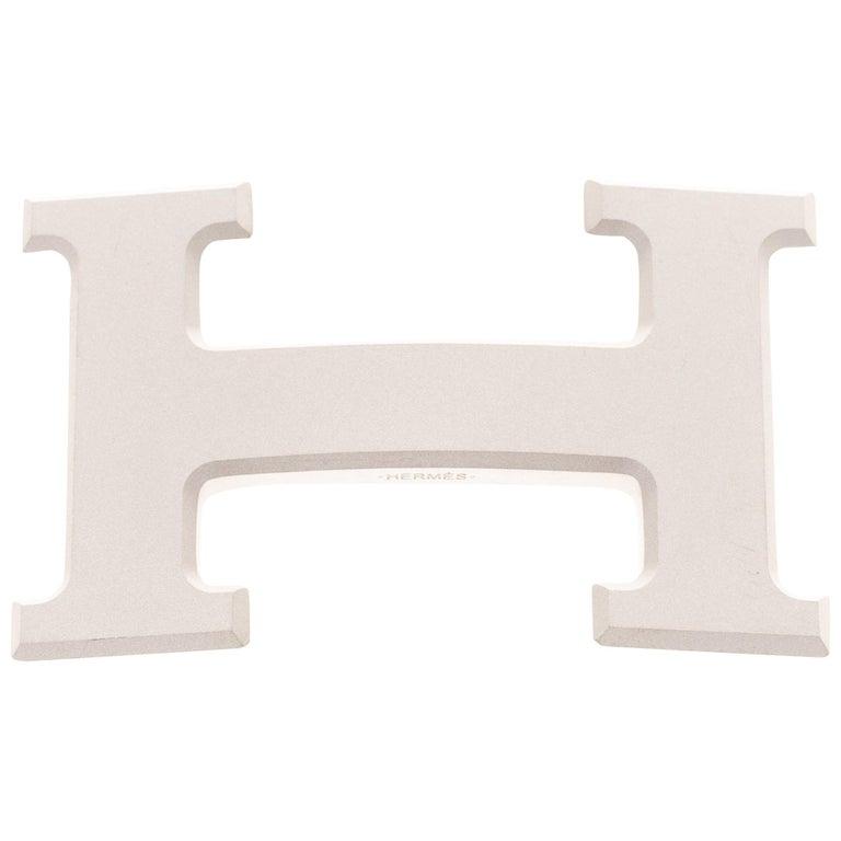 Brand new Hermes Constance 5382 in matt silver PVD Belt Buckle ! For Sale
