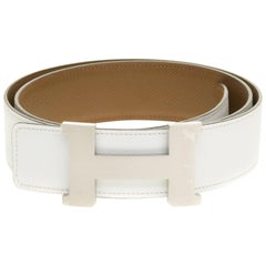 Brand new/Hermès Constance belt 40 mm reverse in epsom White/Taupe leather