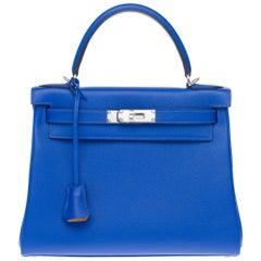 BRAND NEW-Hermès Kelly 28 Evercolor strap shoulder bag in blue royal calf, PHW