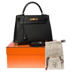 BRAND NEW-Hermès Kelly 28 strap in black Epsom leather and gold hardware