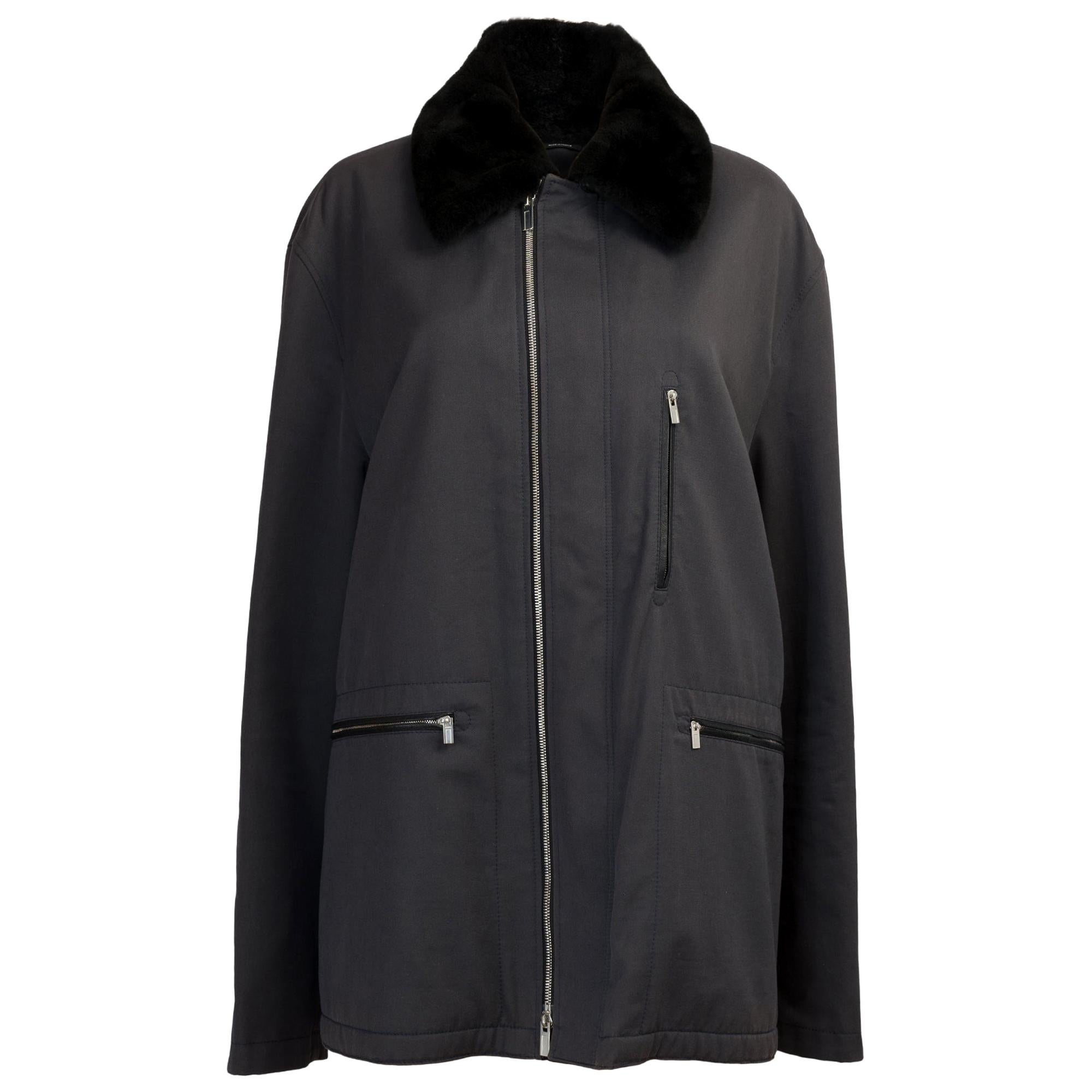 BRAND NEW/ Hermès Man Jacket in black canvas and leather, silver hardware