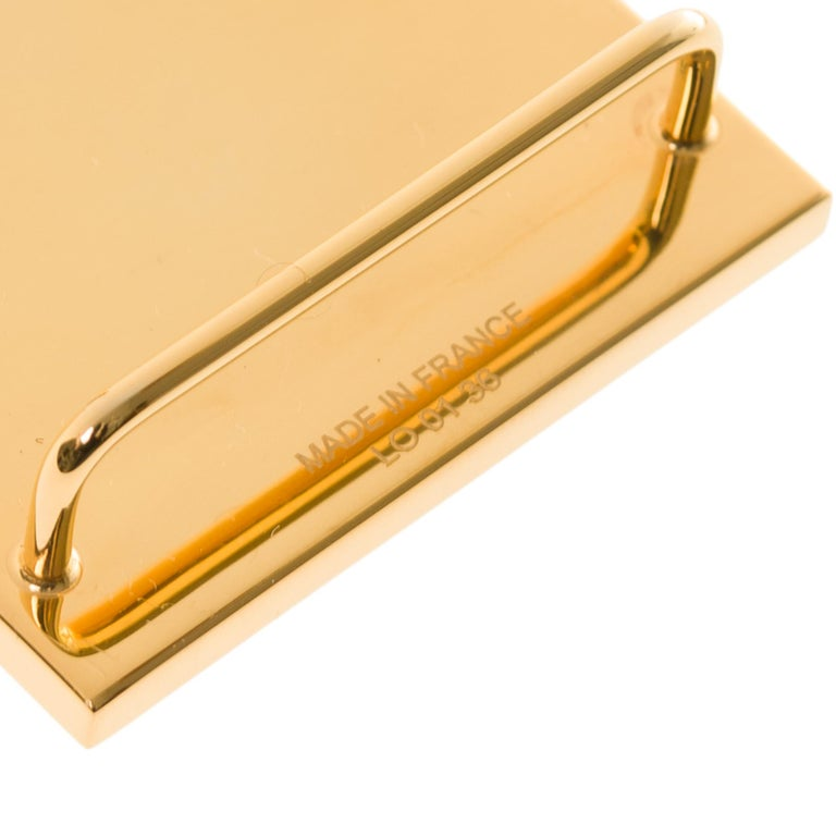 Gold Brand New Hermes Rectangle Belt Buckle in gold plated metal (37mm)