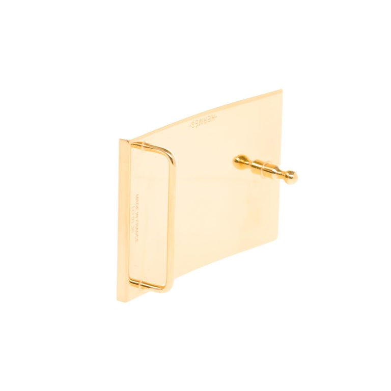 Brand New Hermes Rectangle Belt Buckle in gold plated metal (37mm) 1