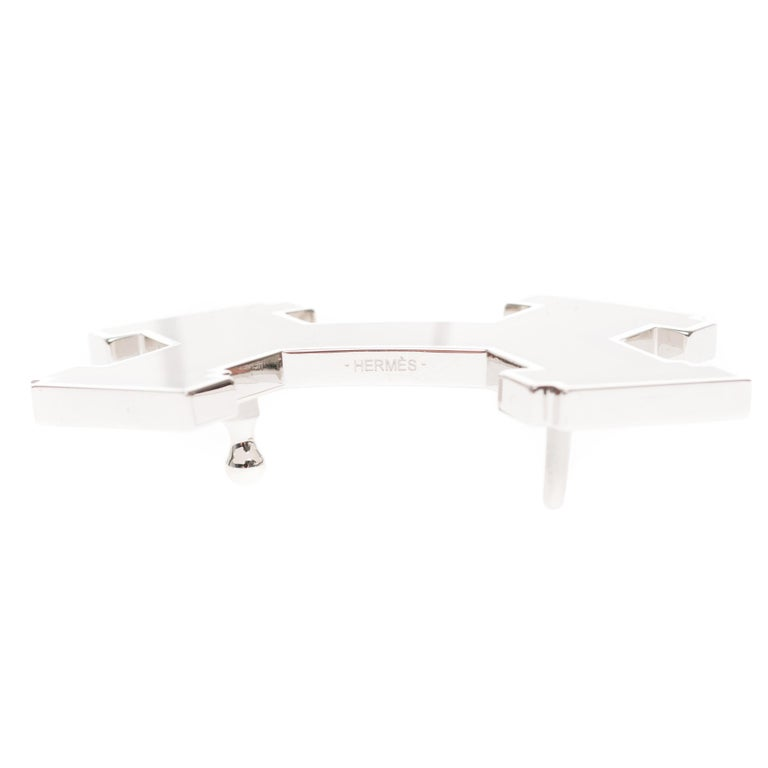 Brand new Hermes Street belt buckle in burgundy & black metal  In New Condition For Sale In Paris, Paris