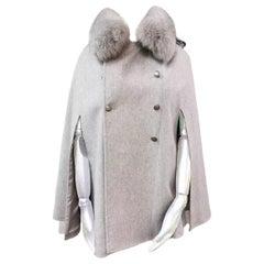 Brand new Loro Piana grey cape with fox fur trim