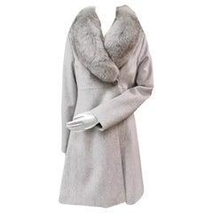 Brand new Loro Piana grey coat with fox fur trim size 6
